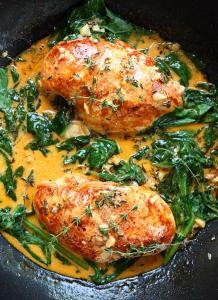 Paprika Spinach Chicken in White Wine Herb Butter Sauce Recipe
